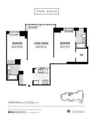 floorplan for 2 Gold Street #1413