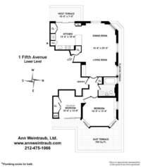 floorplan for 1 Fifth Avenue #23A