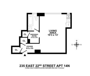 floorplan for 235 East 22nd Street #14N