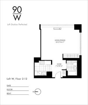 floorplan for 90 Washington Street #3W