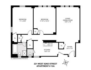 floorplan for 221 West 82nd Street #12A