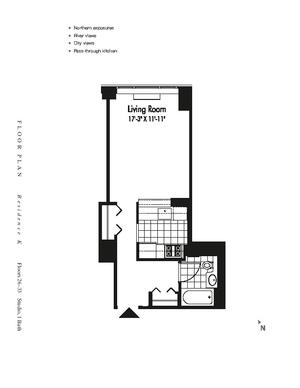 floorplan for 601 West 57th Street #33K