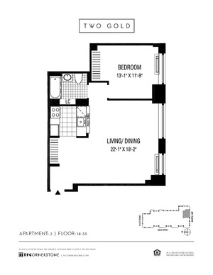 floorplan for 2 Gold Street #3202