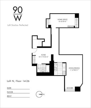 floorplan for 90 Washington Street #19N