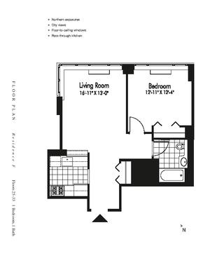 floorplan for 601 West 57th Street #28F