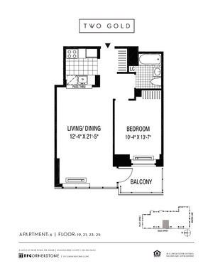 floorplan for 2 Gold Street #2306