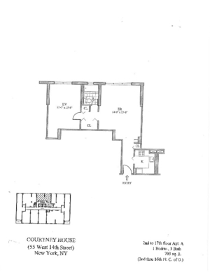floorplan for 55 West 14th Street #17A