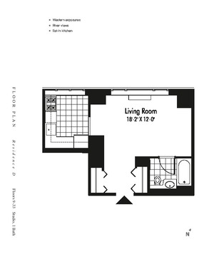 floorplan for 601 West 57th Street #25D