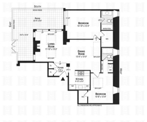 floorplan for 210 West 90th Street #PH4
