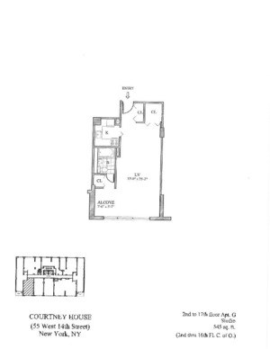 floorplan for 55 West 14th Street #3G