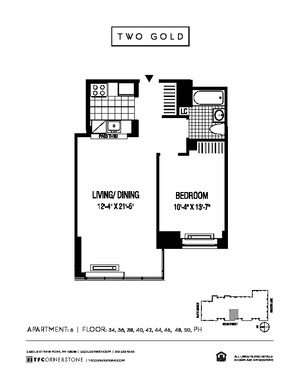 floorplan for 2 Gold Street #3406