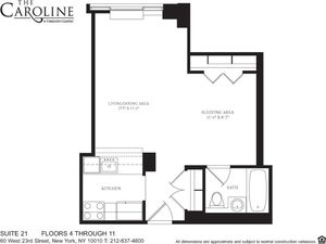 floorplan for 60 West 23rd Street #521