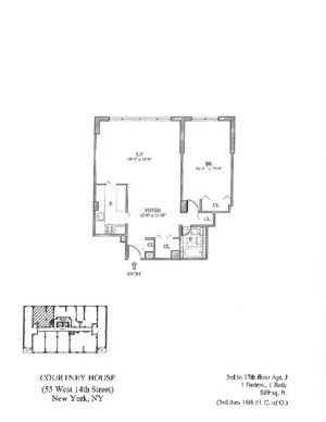 floorplan for 55 West 14th Street #8J