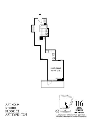 floorplan for 116 John Street #2309