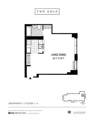 floorplan for 2 Gold Street #1502
