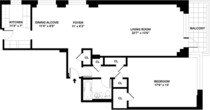floorplan for 715 Park Avenue #15A