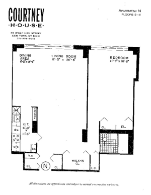 floorplan for 55 West 14th Street #3N