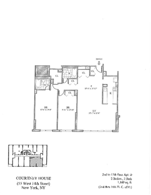floorplan for 55 West 14th Street #16D