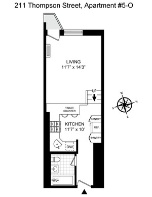 floorplan for 211 Thompson Street #5O