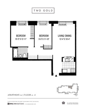 floorplan for 2 Gold Street #614