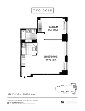 floorplan for 2 Gold Street #2402