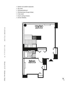 floorplan for 601 West 57th Street #24N