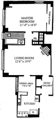 floorplan for 235 East 22nd Street #13T