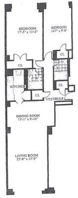 floorplan for 30 Park Avenue #7M
