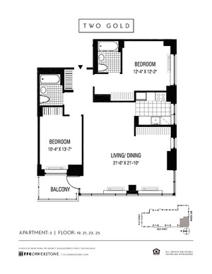 floorplan for 2 Gold Street #2103