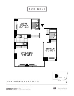 floorplan for 2 Gold Street #22F