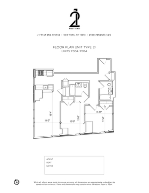 floorplan for 21 West End Avenue #2304
