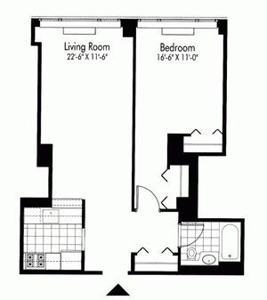 floorplan for 601 West 57th Street #8N