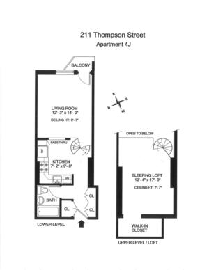 floorplan for 211 Thompson Street #4J