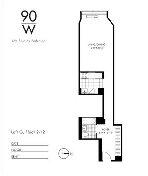 floorplan for 90 Washington Street #3G