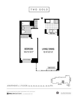 floorplan for 2 Gold Street #4405