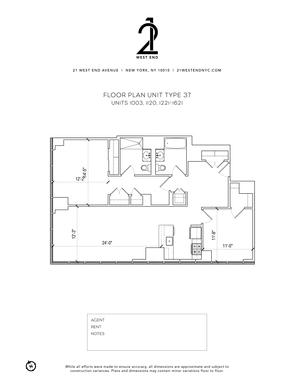 floorplan for 21 West End Avenue #1421