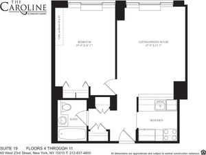 floorplan for 60 West 23rd Street #619