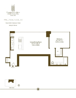 floorplan for 39 East 29th #23D
