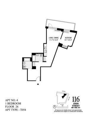 floorplan for 116 John Street #2604