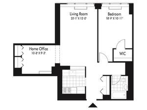 floorplan for 601 West 57th Street #6R
