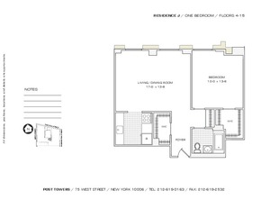 floorplan for 75 West Street #14J
