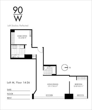 floorplan for 90 Washington Street #23M