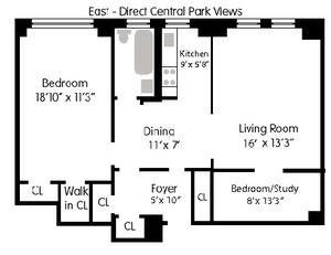 floorplan for 444 Central Park West #3C