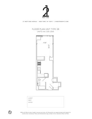 floorplan for 21 West End Avenue #1615
