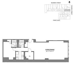 floorplan for 50 Murray Street #D12