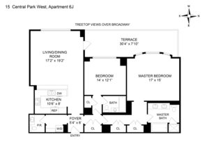 floorplan for 15 Central Park West #6J