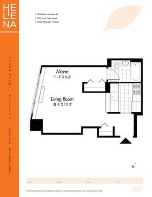 floorplan for 601 West 57th Street #31B