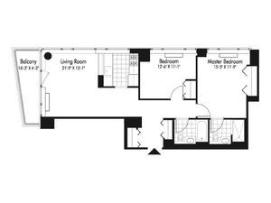 floorplan for 601 West 57th Street #33E