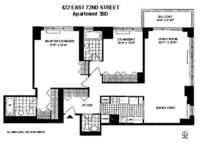 floorplan for 422 East 72nd Street #30D