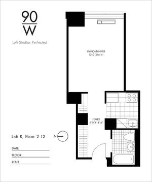 floorplan for 90 Washington Street #12R